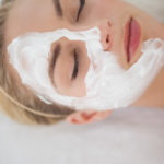 Beautiful blonde getting a facial treatment at the health spa